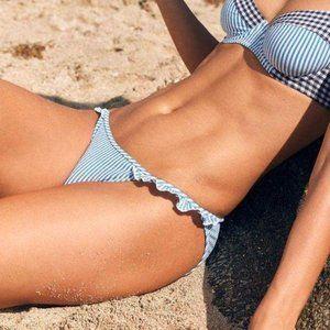 aerie Seer Sucker Bikini Striped Frill Ruffle Bott
